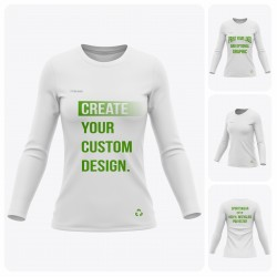 Woman Long Sleeve  Round Collar Recycled T-Shirt