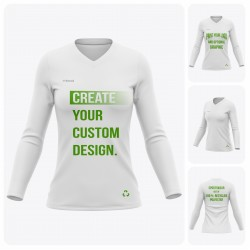 Woman Long Sleeve V-Neck Recycled T-Shirt